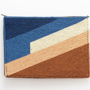 Blue + Browns Striped Beaded Clutch