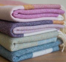 Load image into Gallery viewer, Lambswool Throw Taupe + Fuchsia Stripe