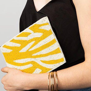 Yellow Zebra Striped Beaded Clutch