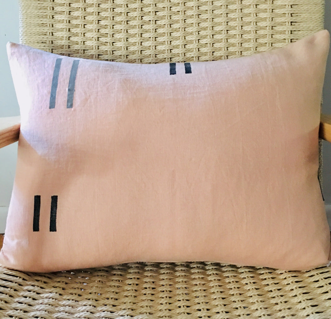 "Blush Linen Pillow 16""x 24"""