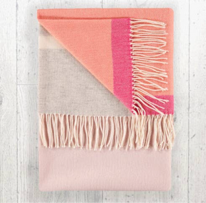 Lambswool Throw Blush + Coral