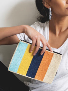 Multi-Color Striped Beaded Clutch