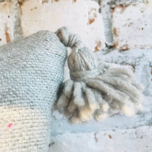 Moroccan Pom Pom Pillow Gray