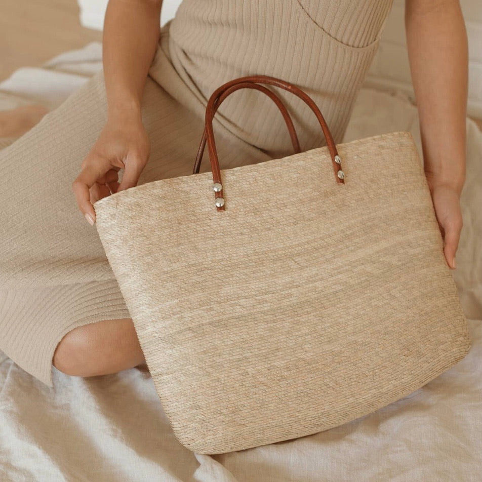 La Playa Straw Tote with Leather Handles