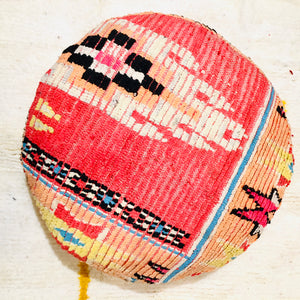 Vintage Moroccan Floor Cushion Cover Round