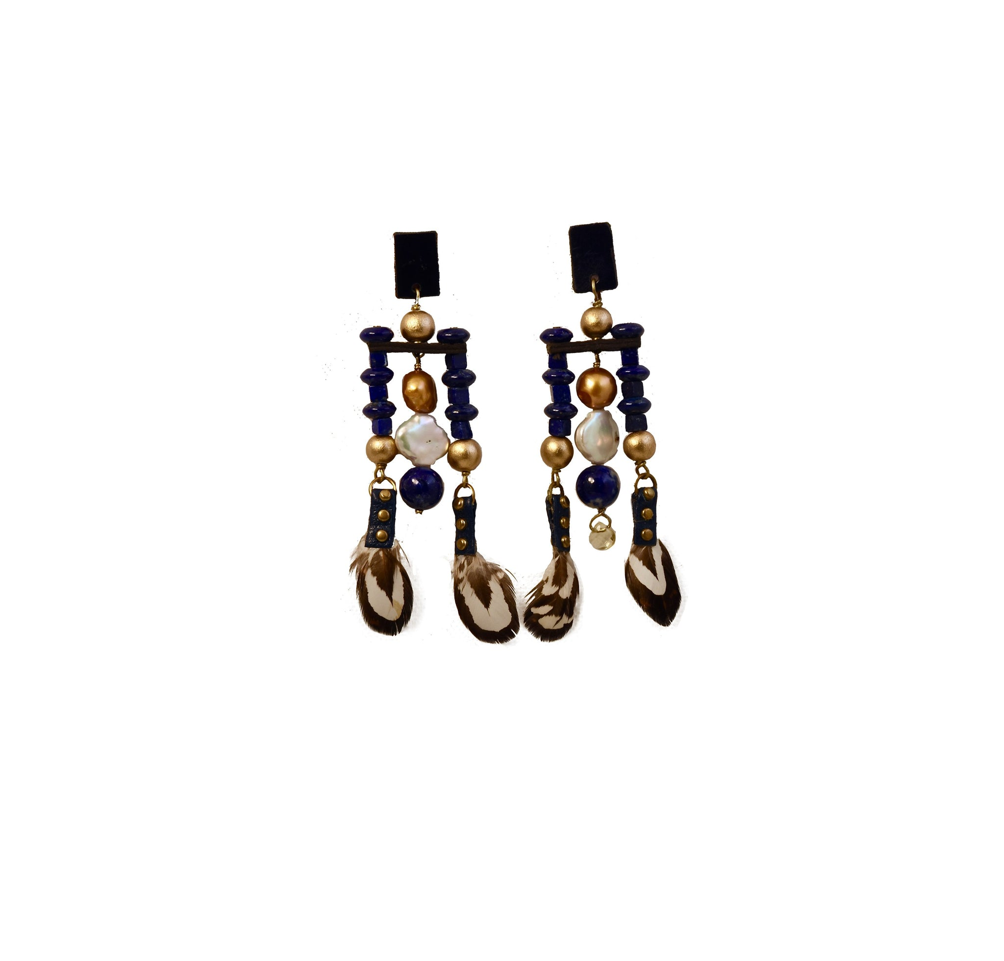 Atsa Mosaic Earrings Navy - AmatoStyle