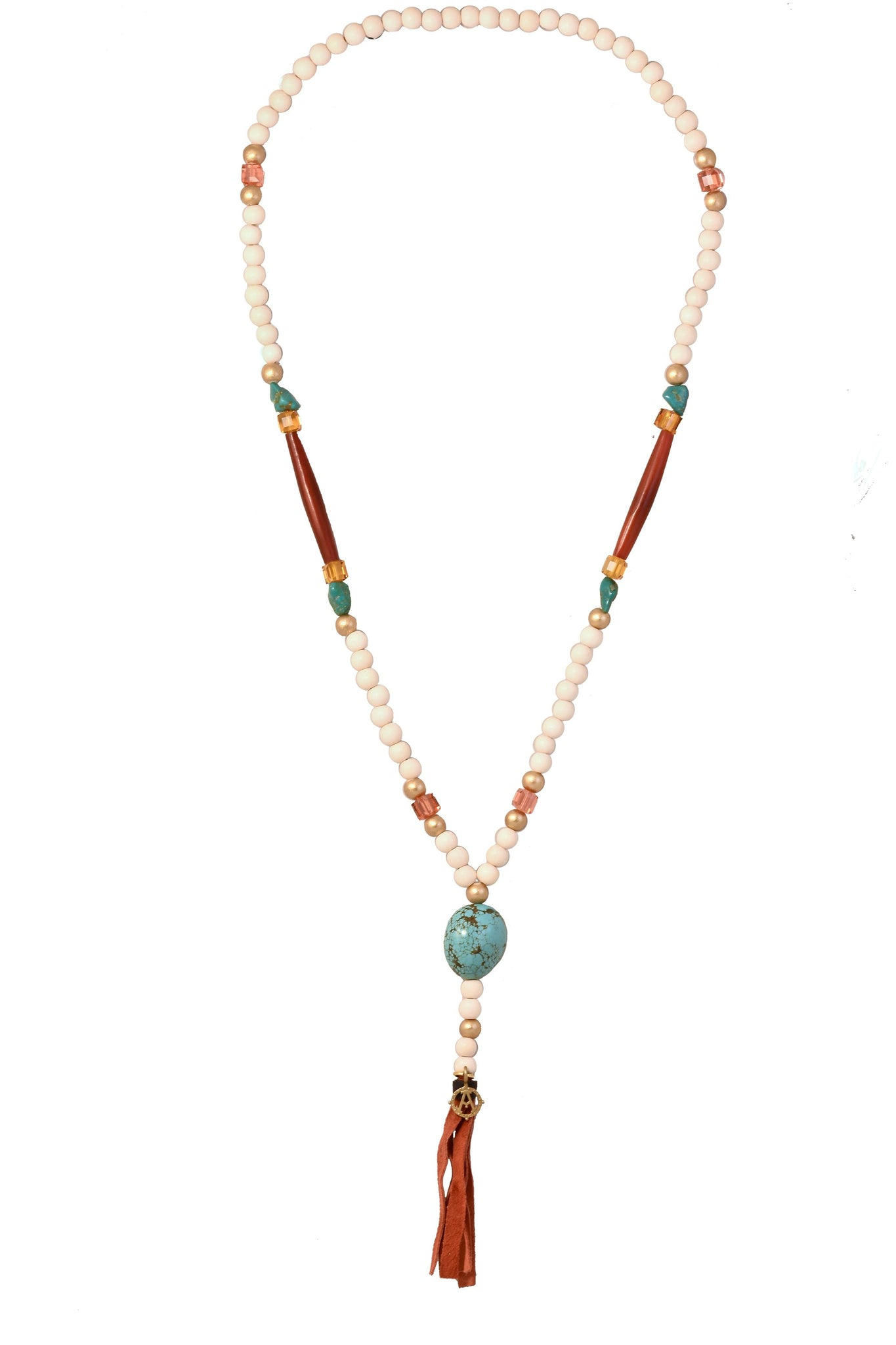 CATORI Stackable Necklace in cream with turquoise accents - AmatoStyle