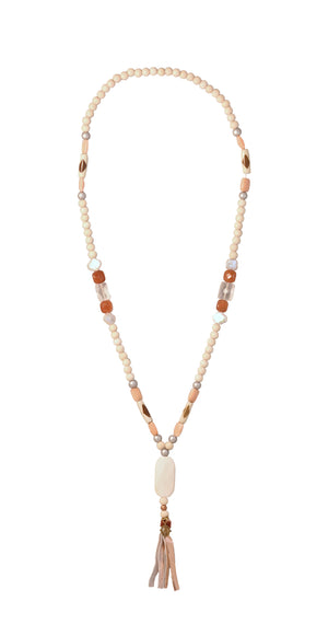 CATORI Stackable Necklace in cream with orange accents - AmatoStyle