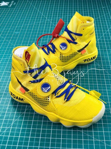 Custom Off-White X Nike React Hyperdunk Golden State Warriors Nba Yellow Blue