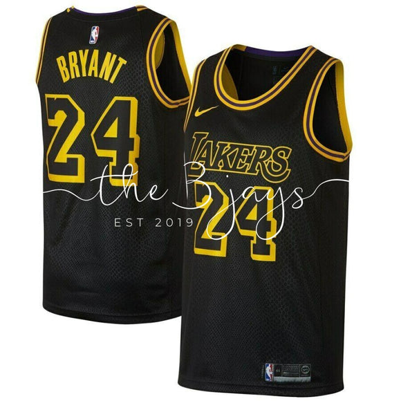 Kobe Bryant #24 Los Angeles Lakers Mens Black City Edition Jersey