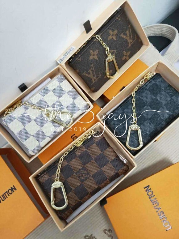 Lv Zipper Key Pouch Clutch
