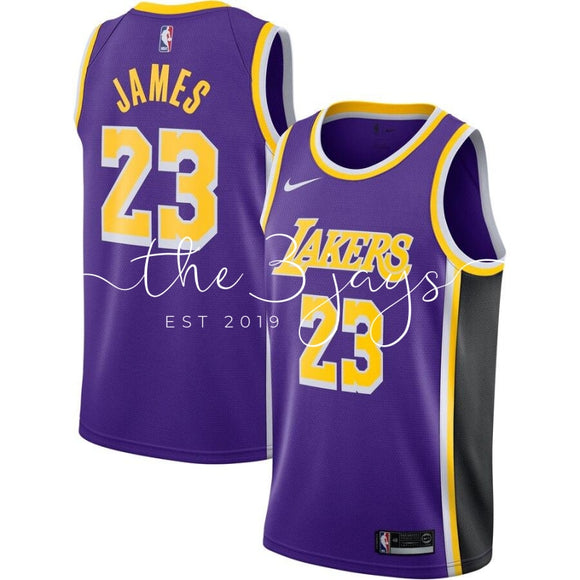 Mens Los Angeles Lakers Lebron James Purple Replica Swingman Jersey Statement Edition