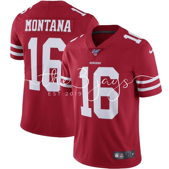 Mens Nike Joe Montana Scarlet San Francisco 49Ers Nfl 100 Retired Vapor Limited Jersey
