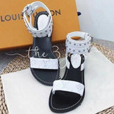 Monogram Open Toe Leather Elegant Style Sandals