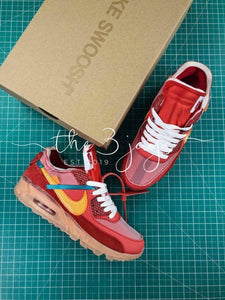 new concept ec2ab 834ea Off White X Nike Air Max 90 University Red – The Three Jays