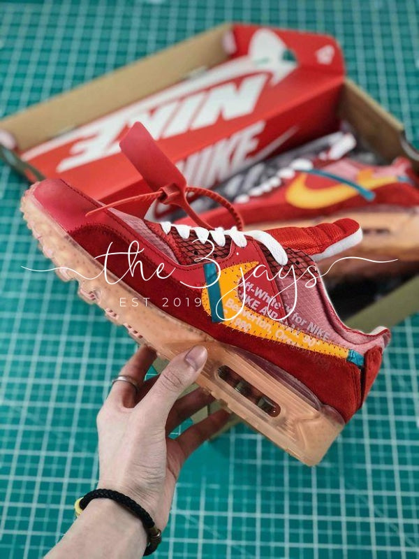 new concept 398d3 941e8 Off White X Nike Air Max 90 University Red – The Three Jays