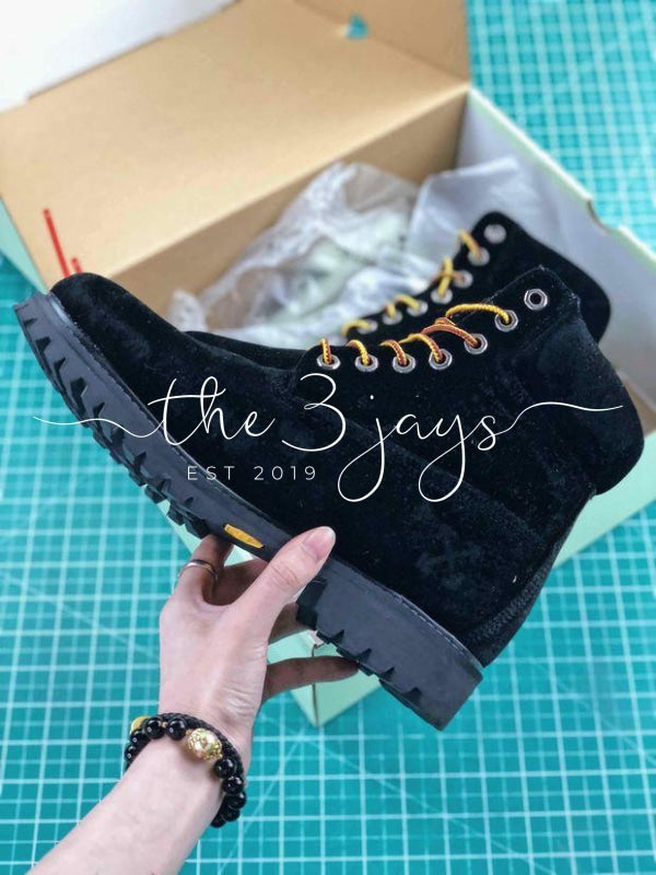 Off White X Timberland Velvet Hiking 6 inch Black Boots