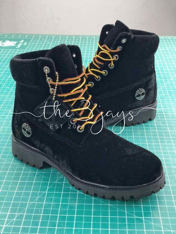 Off White X Timberland Velvet Hiking 6-Inch Black Boots