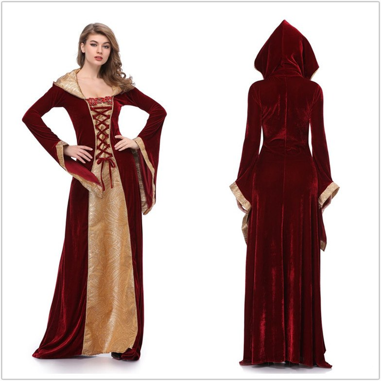 Cosplay Wicca Witch Medieval Dress Women Adult Plus Size Ghost Gothic