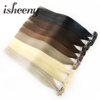 "Isheeny 14"" 18"" 20"" 22"" 24"" Remy Keratin U Tip Hair Extensions Silky Straight Pre Bonding Human Hair Extension Natural 50pcs"