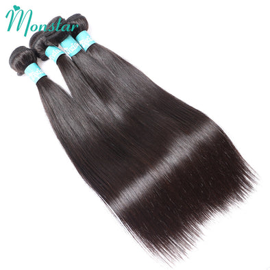 Monstar 1/3/4 PC Peruvian Straight Hair Bundles Unprocessed Virgin Human Hair Extensions Natural Weave 8 - 30 inch Free Shipping