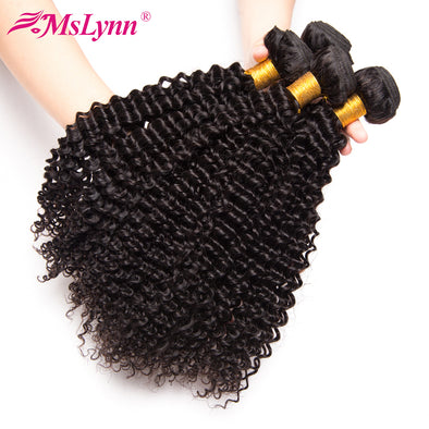 Mslynn Afro Kinky Curly Hair Malaysian Curly Hair Weave Bundles 1/3 Bundle Deals Afro Kinky Curly Human Hair Extensions Non Remy
