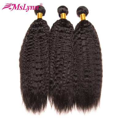 Mslynn Brazilian Kinky Straight Hair Weave Bundles Human Hair Extensions Non Remy Hair Bundles Natural Black 1/3 Pc Double Weft