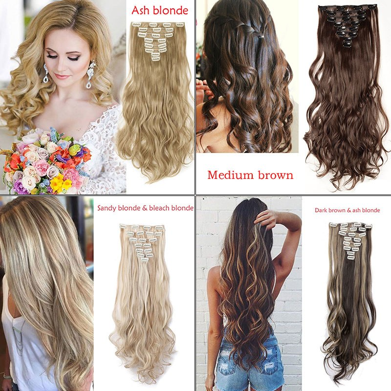Snoilite 24inch 8pcsset Curly 18 Clips In False Hair Styling Syntheti