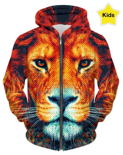 Brown Tiger All over printed Hoodie for kids