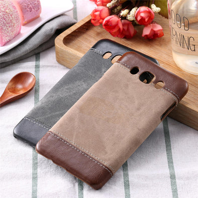 Vintage Jean Denim PU Leather Case For Samsung Galaxy A3 A5 J3 J5 J7 Funda Cowboy Business Style Man Canvas Hard PC Cover Shell