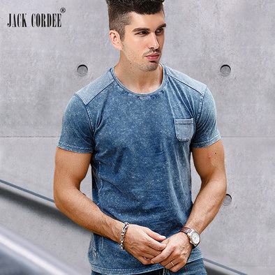 JACK CORDEE 2017 Summer New T-Shirt Solid 100% Cotton Tshirt Slim Short Sleeve Tee Shirt Casual Patchwork Tops Brand T Shirt Men
