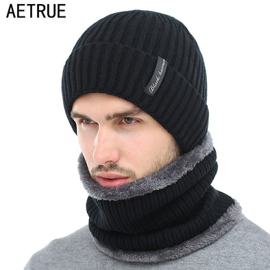 AETRUE Winter Beanies Men Scarf Knitted Hat Caps Mask Gorras Bonnet Warm Baggy Winter Hats For Men Women Skullies Beanies Hats - Bellannisa