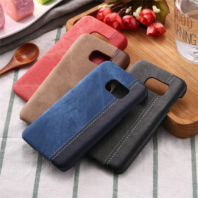 Retro Jean Denim PU Leather Case for Samsung Galaxy S7 S6 edge Funda Business Style Man Cowboy Canvas Hard PC Cover Shell Coque