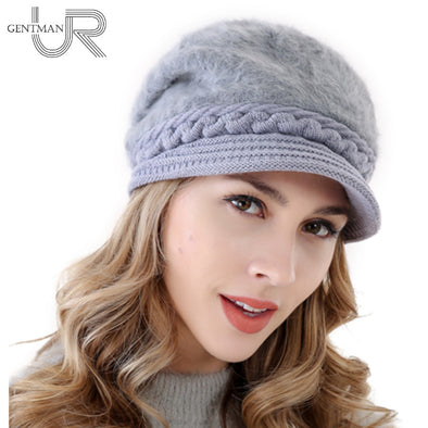 New Women Warm Hat Rabbit Fur Winter Hats For Women Ladies Add Fur Lined Bonnet Cap Wool Fahion Knitted Hat
