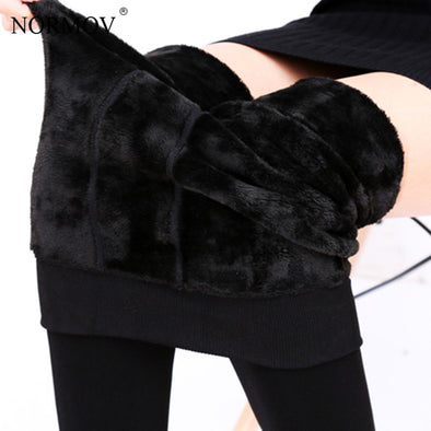 NORMOV S-3XL Plus Size Warm Winter Leggings Women Warm Velvet Pants Leggins High Waist Thick Legging Winter Pant Trousers Women