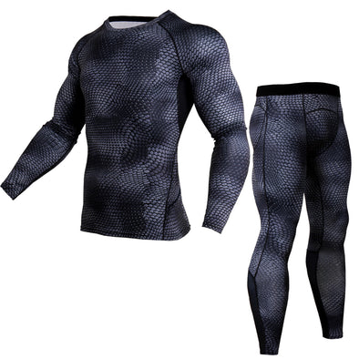 Men T shirts Trousers Set 2 Piece Men's Sportswear Compression Suit Joggers Fitness Base Layer Shirt Leggings Rashguard Clothes