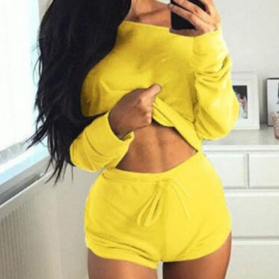Summer 2018 Sexy Women Two Pieces Slash Neck Hoodies Tops Cotton Drawstring Shorts