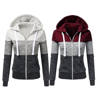 Women Autumn Casual Long Sleeve Thin Zip Contrast Hood Hoodies Jacket Coat