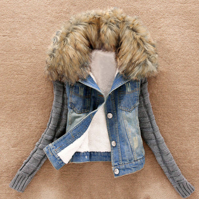 Women Winter Warm Jeans Button Knit Sleeve Cowboy Denim Pockets Jacket Coat