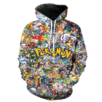 2018 New Fashion Sweatshirt Men / Women 3d Hoodies Print Lots of Pokemon anime pattern Slim Unisex Slim Stylish Hooded Hoodies