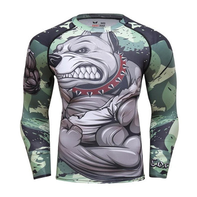2018 Mens Fitness Compression O-Neck Long sleeves T Shirt  Animal 3D Prints MMA Rashguard Tights Skin Man COCEDDB T-Shirts