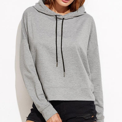 Women Fall Winter New Stylish Casual Sexy Long Sleeves Drop Shoulder Split Back solid color Polyester Hoodie Sweatshirt