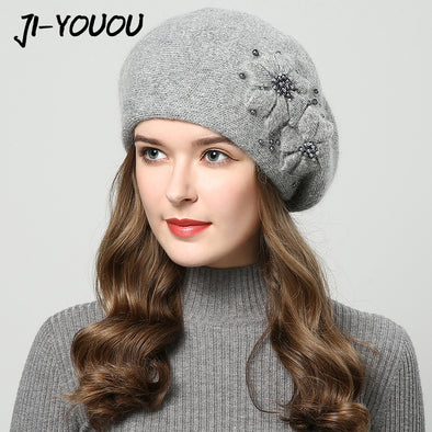 2017 winter hats for women hat with rhinestones rabbit fur hats for women's knitted hat beanie Thicker Women's cap beanies - Bellannisa