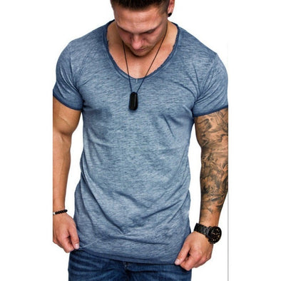 Moomphya Oversize V-Neck Men t shirt Splicing Longline curved hem slim t-shirt men Cool summer tshirt Hip hop streetwear tops