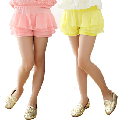 V-TREE Summer 2016 girls shorts chiffon shorts for girls candy color  girls lace shorts with skirt teenager school shorts
