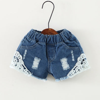2018 Fashion Lace Shorts Kids Girls Cute Hole Jeans Shorts Short Pants Pocket Denim Shorts Baby Jeans Children Clothes