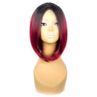 XCCOCO Short Bob Synthetic Wigs For Women 12inch Ombre Red Wigs Straight Wigs with Dark Root