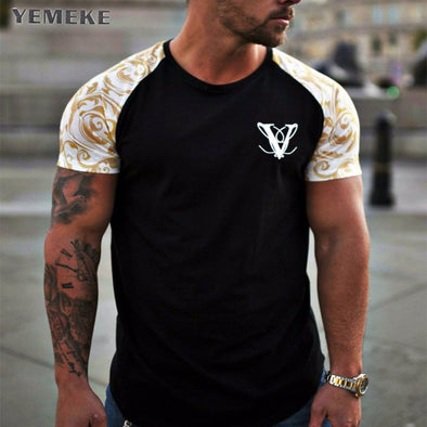 YEMEKE Brand T-Shirts 2018 Summer Short Sleeve O-neck Stripe Printed Loose Slim T shirt Mens Tops Tee