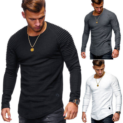 2018 New Fashion Men's Round Neck Slim Solid Color Long-sleeved T-shirt