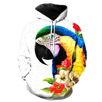 2018 New Fashion Sweatshirt Men / Women 3d Hoodies Print Cute parrot animal pattern Slim Unisex Slim Stylish Hooded Hoodies